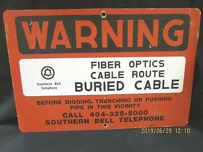 Vintage Southern Bell Telephone Painted Metal Warning Buried Cable Sign  18 x 12