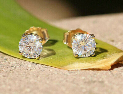 1 Carat Moissanite Earrings, 14k Solid Gold Stud Earrings, Round Brilliant Cut