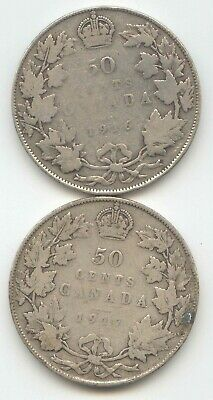 Canada 1916 & 1917 .925 Silver 50 Cent Pieces Canadian Half Dollars EXACT SET