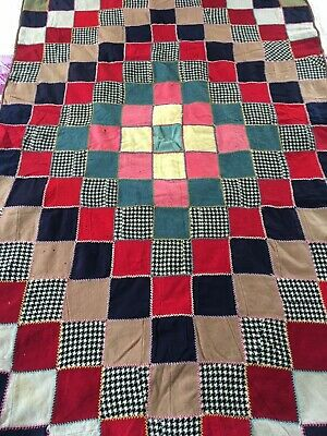 "Vintage Handmade Wool Trip Around The World Quilt 42"" X 63"""