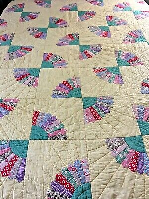 "Amazing Vintage Feed Sack Whirling Fan Quilt 71"" X 80"""