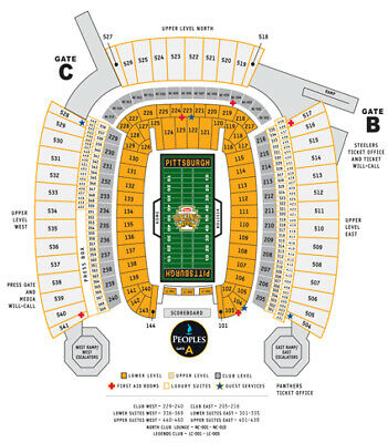 2 Tickets Rams at Pittsburgh Steelers 11/10  Heinz Field 522 M Aisle