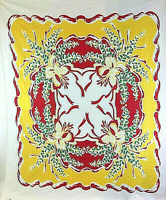 "Vintage 45"" x 56"" Yellow Red Green Cotton Tablecloth"