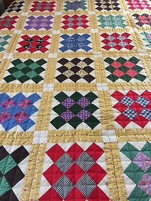 "Omg! Vintage Handmade Feed Sack Nine Patch On Point Quilt Never Used  70"" X 77"""