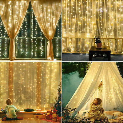 200 LED Outdoor Solar Curtain Fairy String Lights Hanging Gazebo Patio Window UK