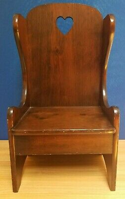 Antique Wooden Child's Chair Handmade primitive straight back Heart Cut Out 27""