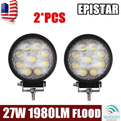 2 PCS 4Inch 27W Round Flood Beam Led Work Light Driving cube Lights Front Bumper