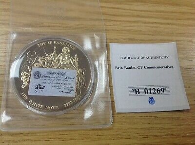 British Banknote Gold Plated Proof Coin #B01269 + Certificate
