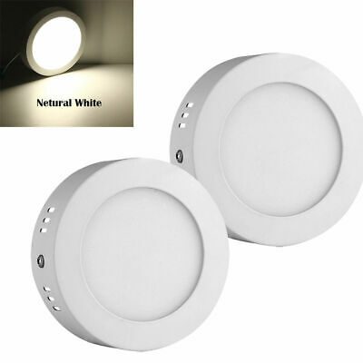 2pcs 6W LED Round Surface Mounted Ceiling Panel Down Light Natural White Lamp
