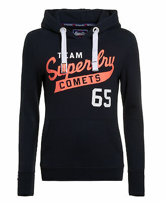 New Womens Superdry Team Comets Entry Hoodie Eclipse Navy