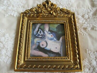 Ornate Decorative Gilt Frame with Unusual Abstract Impressionist Female Nude