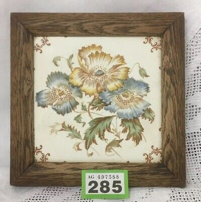ANTIQUE FRAMED TILE TRIVET TEAPOT STAND FLORAL Blue & Yellow Blooms