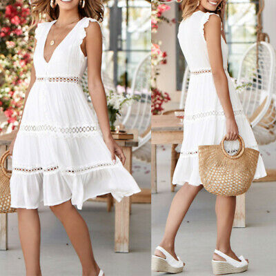 Summer Womens Sleeveless Hollow Out Solid Lace Patchwork O-Neck Party Mini Dress