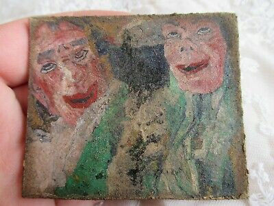 Weird Eerie Lacquered Abstract Impressionist Miniature Picture on Wooden Panel