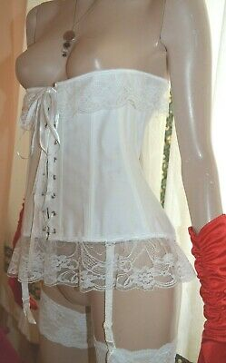 Vintage white suspender boned bridal basque uk 10-12
