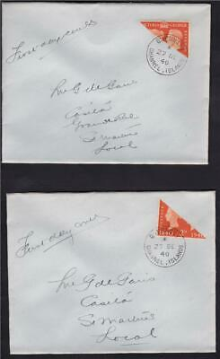 1940 Centenary 2d Orange Bisects - PAIR of them on plain covers - Guernsey CDS