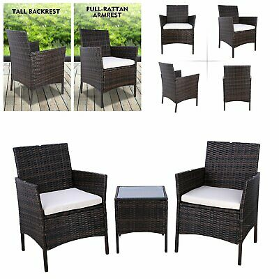 3pc Rattan Wicker Bistro Sofa Set Coffee Table Chair Outdoor Patio Furniture USA