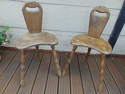 Pair Antique Vintage Rustic French 3 - Leg Tripod Wooden Milking Spinning Stools
