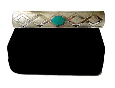 Sterling Sandcast Hair Barrett Native Turquoise Gemstone Accessory Signed