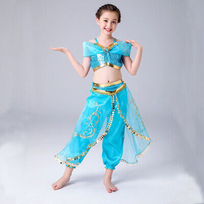 Girl Costume Aladdin Princess Jasmine Cosplay Outfits Sequin Fancy Dress 3-10yrs