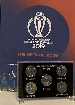 2019 Isle of Man Official ICC Cricket World Cup 50p coins Set In Display Case