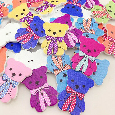 50/100pcs Big Bear Wood Baby's /Kid's Buttons 40x17mm Sewing Craft Mix WB164