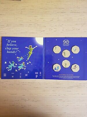 2019 OFFICIAL PETER PAN 50p SET WITH DECALS-BUNC(not silver proof set)