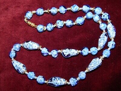 VINTAGE ART DECO BLUE SWIRL GLASS HAND-KNOTTED NECKLACE ~ CZECH ~ 1930's