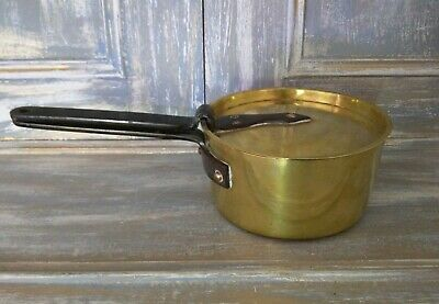 """Lovely Vintage French C19th Tinned Brass 7"""" Pan & Lid with Cast Iron Handle"""