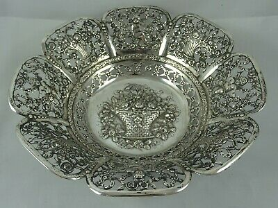 STUNNING solid silver FRUIT BOWL, c1890, 367gm