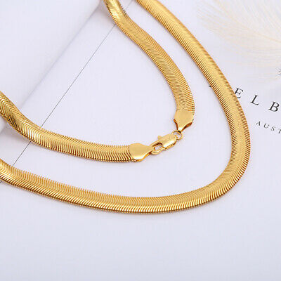 Men Women 18K Yellow Gold Filled Snake Chain Choker Necklace Jewelry Size 16