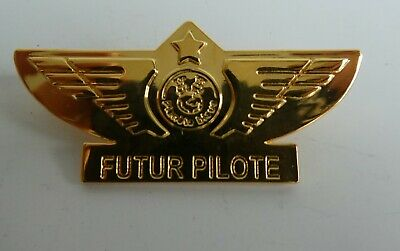 Badge Officiel Air France Futur Pilote Broche Doree Planete Bleue 2002
