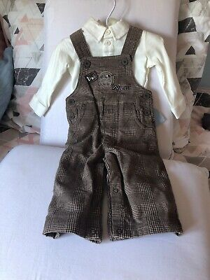 NEW First Impressions Baby Boys 3-6 Mo 2 Piece Outfit T-shirt Overalls