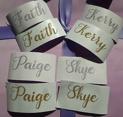 Personalised Gold or Silver glitter vinyl decal sticker, ideal for wedding, phon