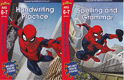 2 x Spider-Man Handwriting Spelling and Grammar Ages 6-7 KS1 Learning Books