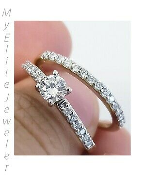 Real 1CT Solitaire Diamond Women Engagement Wedding Ring Band Set Solid 14k Gold
