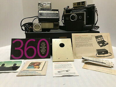 Vintage Polaroid Land Camera 360 Electronic Flash Accessories Leather Briefcase