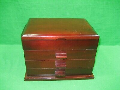 Cherry Wood Jewelry Box Three Drawers & Top Area Vintage