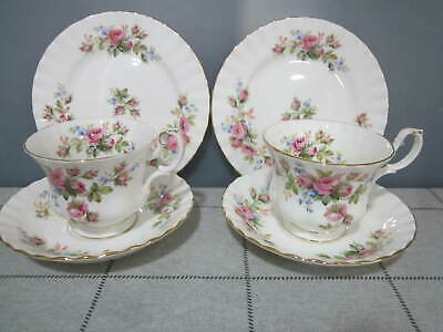 Two Vintage Royal Albert Bone China Moss Rose Tea Cups & Saucers & Plates Trio's
