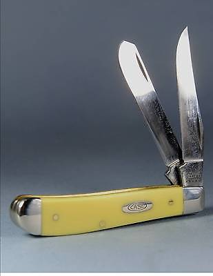 """Case Xx #Ca029 3 1/2"""" Trapper Folding Knife  W/Yellow Synthetic Handles"""