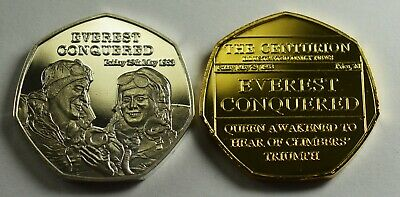 Pair of EVEREST CONQUERED 1953 Collectors Tokens/Medals Fine Silver, 24ct Gold.