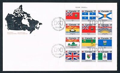 1979 Canada 12 Provincial & Territorial Flags Stamps FCD ( Ontario... )