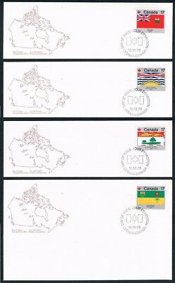 1979 Canada 5-8 Provincial & Territorial Flags Stamps FCD ( Manitoba... )