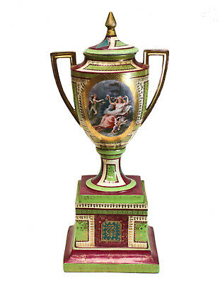 Large Royal Vienna Hand Painted Porcelain Double Handled Footed Urn, circa 1920