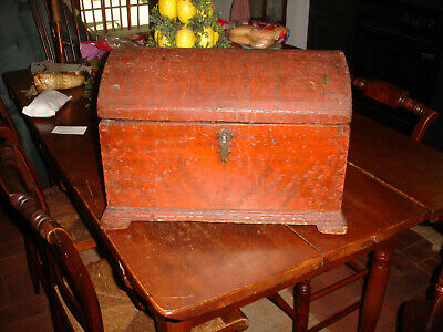 A Extremely Early American Pilgrim Era,Paint Decorated Dovetailed Document Chest