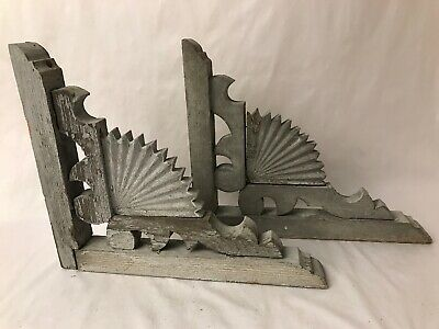 2 Victorian Wood Gingerbread House Fan Corbels Architectural Garden Salvage Grey