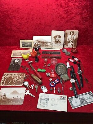 Vintage Antique Junk Drawer Lot Post Cards Toys Jewelry & More Good Lot!