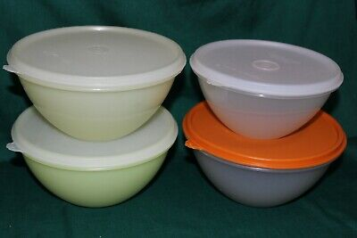 Lot of 4 Tupperware 3 & 6 Cup Wonderlier Nesting Mixing Bowls with Lids