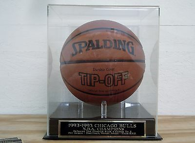 Basketball Display Case With A 1992-93 Chicago Bulls Champs Engraved Nameplate