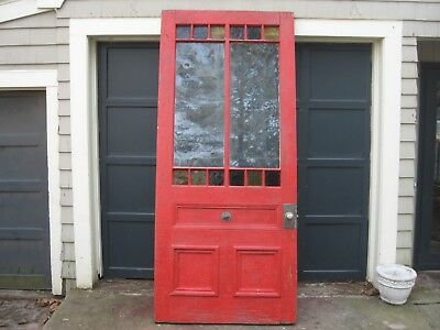 HUGE Antique Queen Anne Victorian Stained Slag Glass Entry Door  Circa 1890's 8'